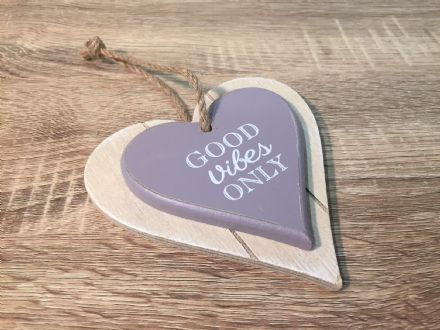 Good Vibes Only ~ Chunky Wood Hanging Heart Plaque